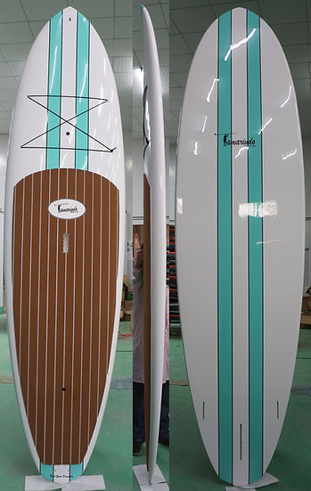 "10'6"" Classic stripes Polymer Shell SUP with Gray or Brown Striped Pad"