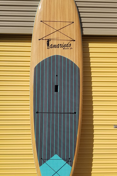 """10'6"""" Teak Wood Polymer Shell SUP with Turquoise Stripe Deck Pad"""