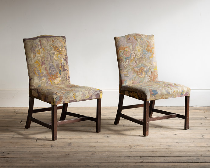 A pair of Georgian needlework upholstered side chairs
