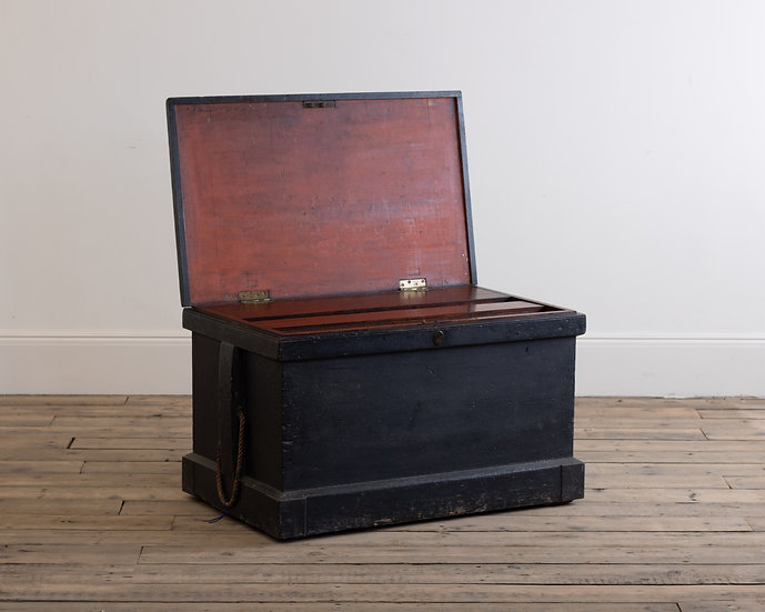 A large 19th century painted tool chest