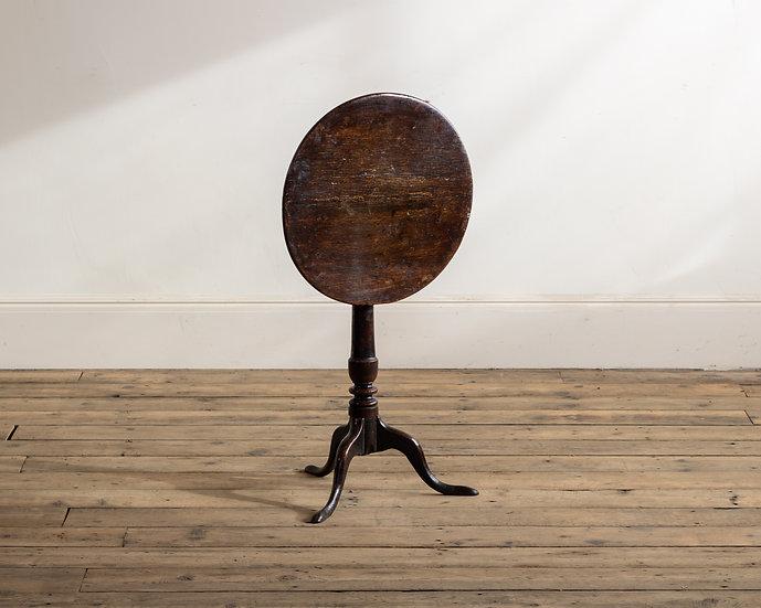 A small 18th century oak tripod table