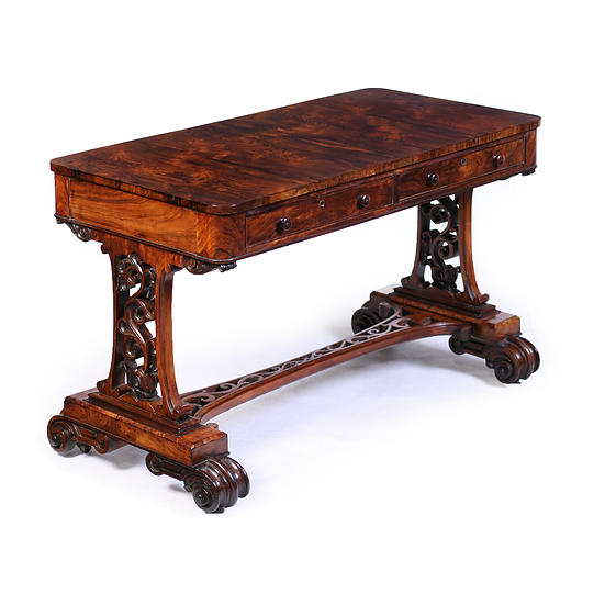 A Victorian rosewood library table