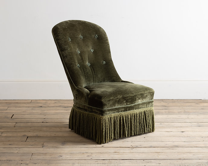 A Victorian green velvet upholstered occasional chair