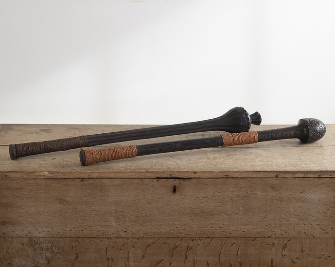 Two South Seas hardwood carved ceremonial clubs