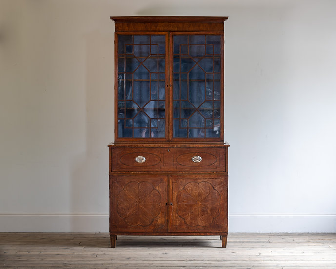 A George III satinwood secretaire bookcase