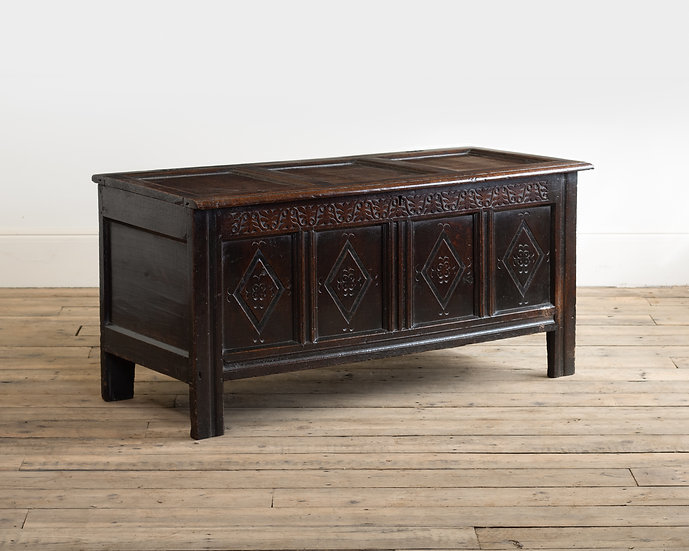 A Charles I panelled oak coffer