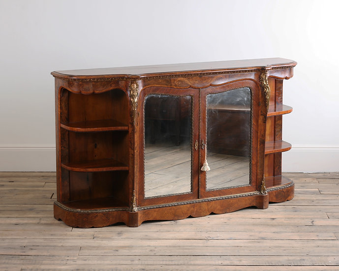 A Victorian walnut and brass mounted credenza
