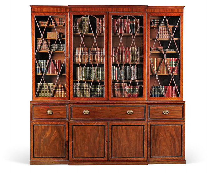 A George III secretaire breakfront bookcase after a design by Thomas Sheraton