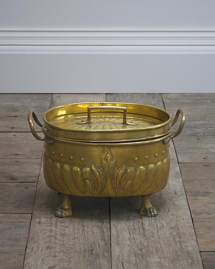 A 19th century Dutch brass coal scuttle