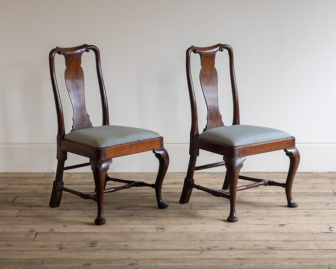 A pair of 18th century mahogany side chairs