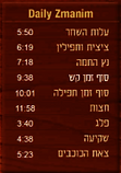Daily Zmanin display the precise zmanin at the exact location based on Geo Mapping Technology. Every conceivable zman is available, from Alos Hashachar to Tzais Hakochavim. From any Shita possible including Magen Avraham, The Gra, and Rabeinu Tam