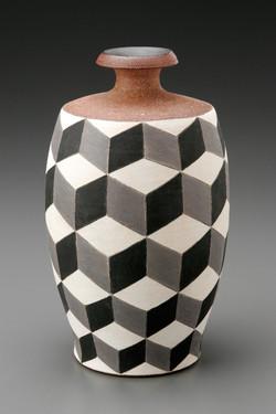 Bottle, Stoneware with Underglaze