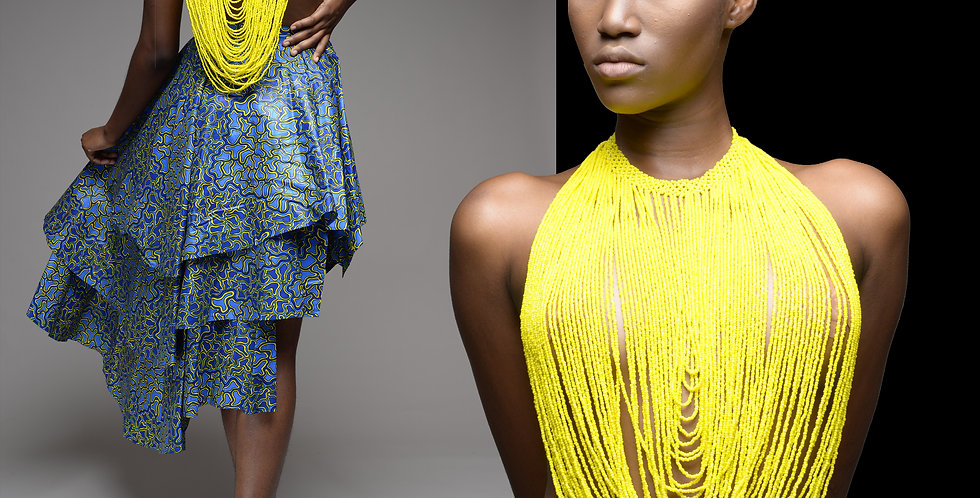 Rope Neck Beads Top Yellow