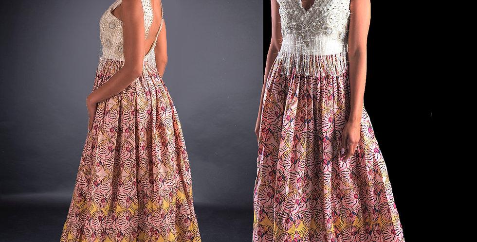 Beaded Dress with Kitenge