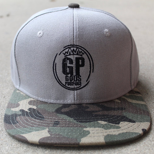 Gray and Black Camouflage Hat