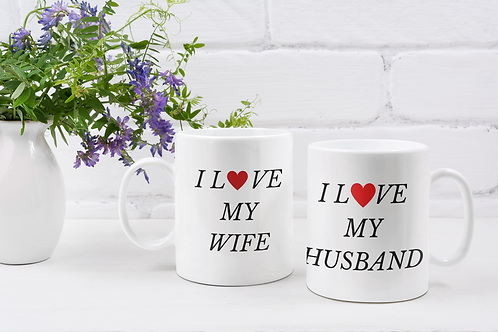 I Love my Husband and Wife Coffee Mug Set