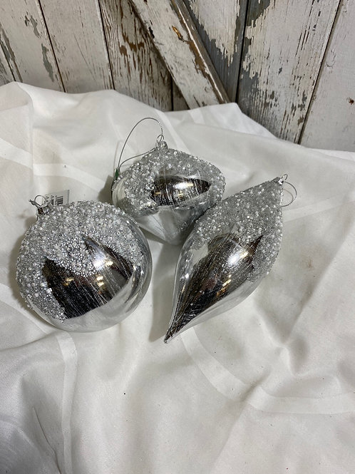 Silver frosted ornaments