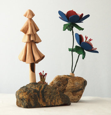 Wild Flowers and Tree with Rocks