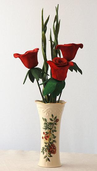 3 Roses in Lenox Vase
