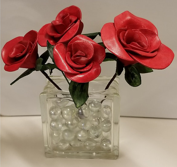 Leather Flowers with Glass Vase