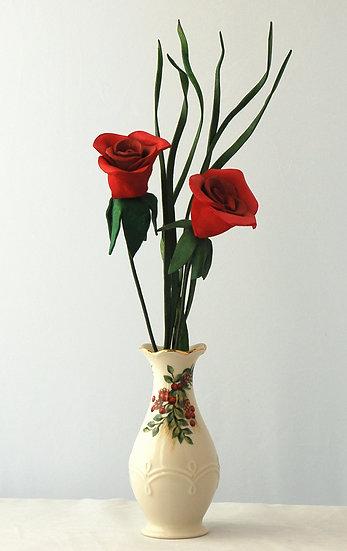 2 Roses in Lenox Vase