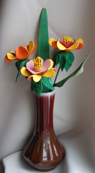 Spring Flowers in Vintage Brown Ceramic Vase