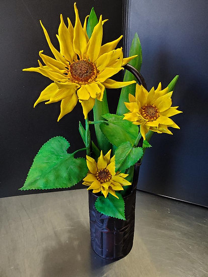 Sunflowers in Bamboo Vase