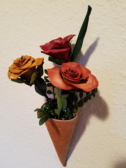 Leather Vase and 3 Roses