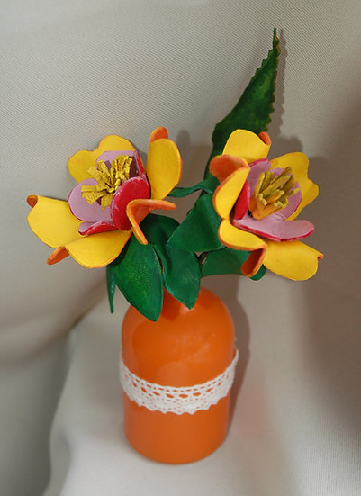 Wild Flowers in a small Orange Vase