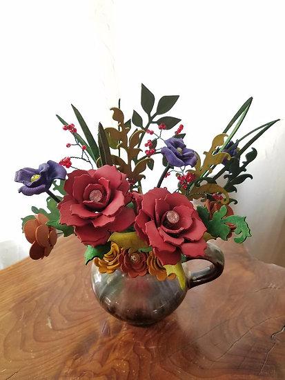Jug with garden flowers