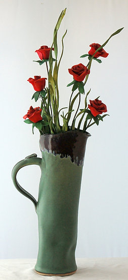 Six Red Roses in Tall Green Ceramic Vase