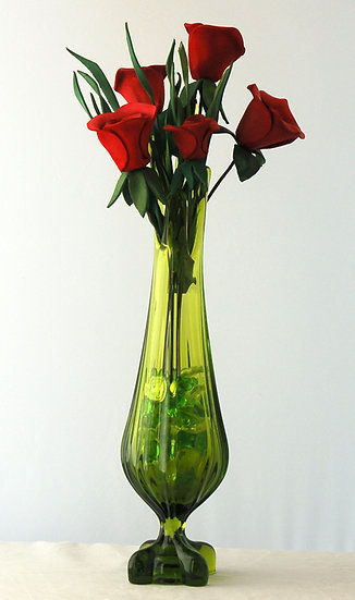 Five Roses in a Tall Green Vase