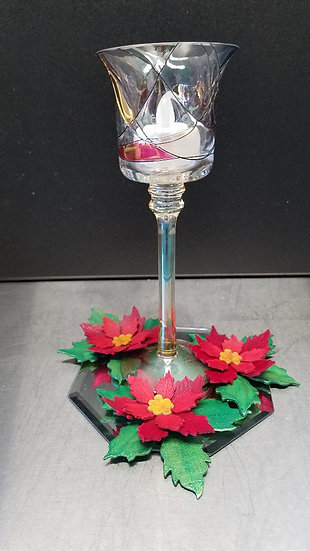 Candle Holders with Poinsettias