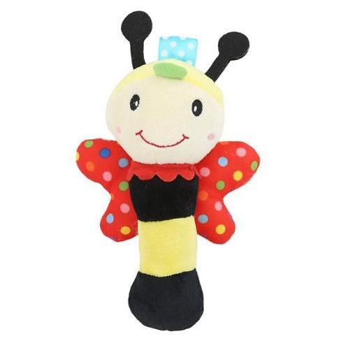 Soft Sound Bee Plush Squeeze Rattle For Newborn Baby