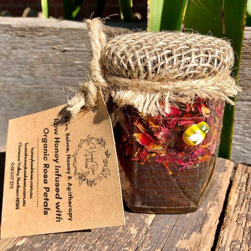 500g Raw, Artisan Honey, Solar-Infused with Organic Rose Petals