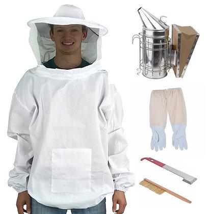 Kit 2: veil smock, gloves, hive tool, hive brush (kit 1) + smoker (save $5)