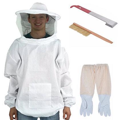 Kit 1: Beekeeping veil smock + gloves + hive tool + bee brush tool