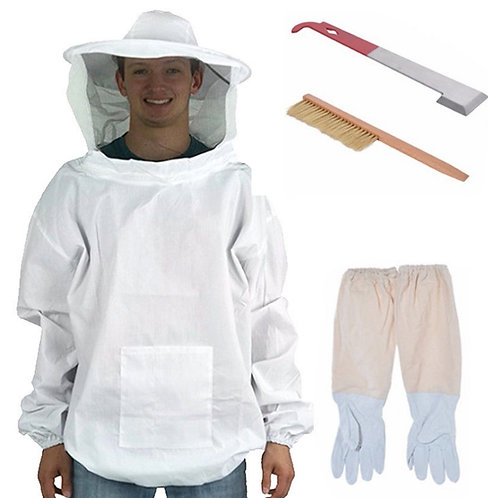 Kit 1: Beekeeping veil smock + gloves + hive tool + bee brush tool