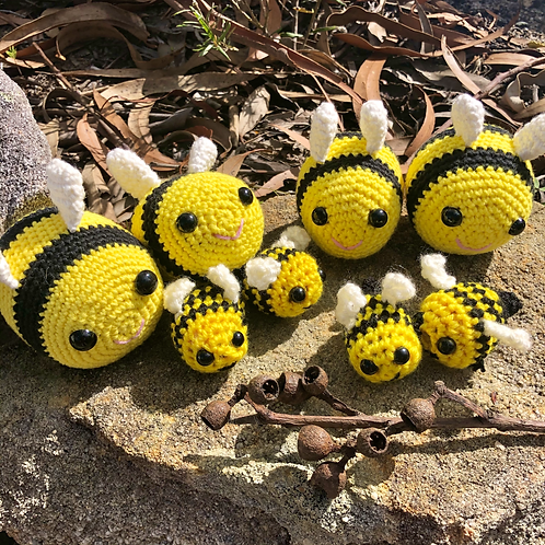 Crocheted Bee Keychains