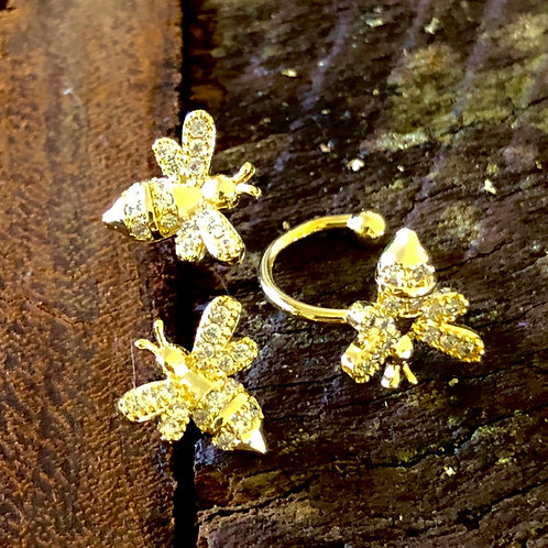 Bee Earrings with Nose Ring