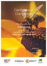 Certificate for Di McQueen in Biosecurit