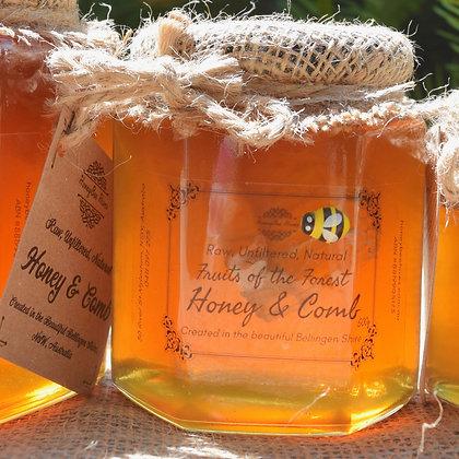 500g Artisan Honey + Honeycomb in Glass Jar
