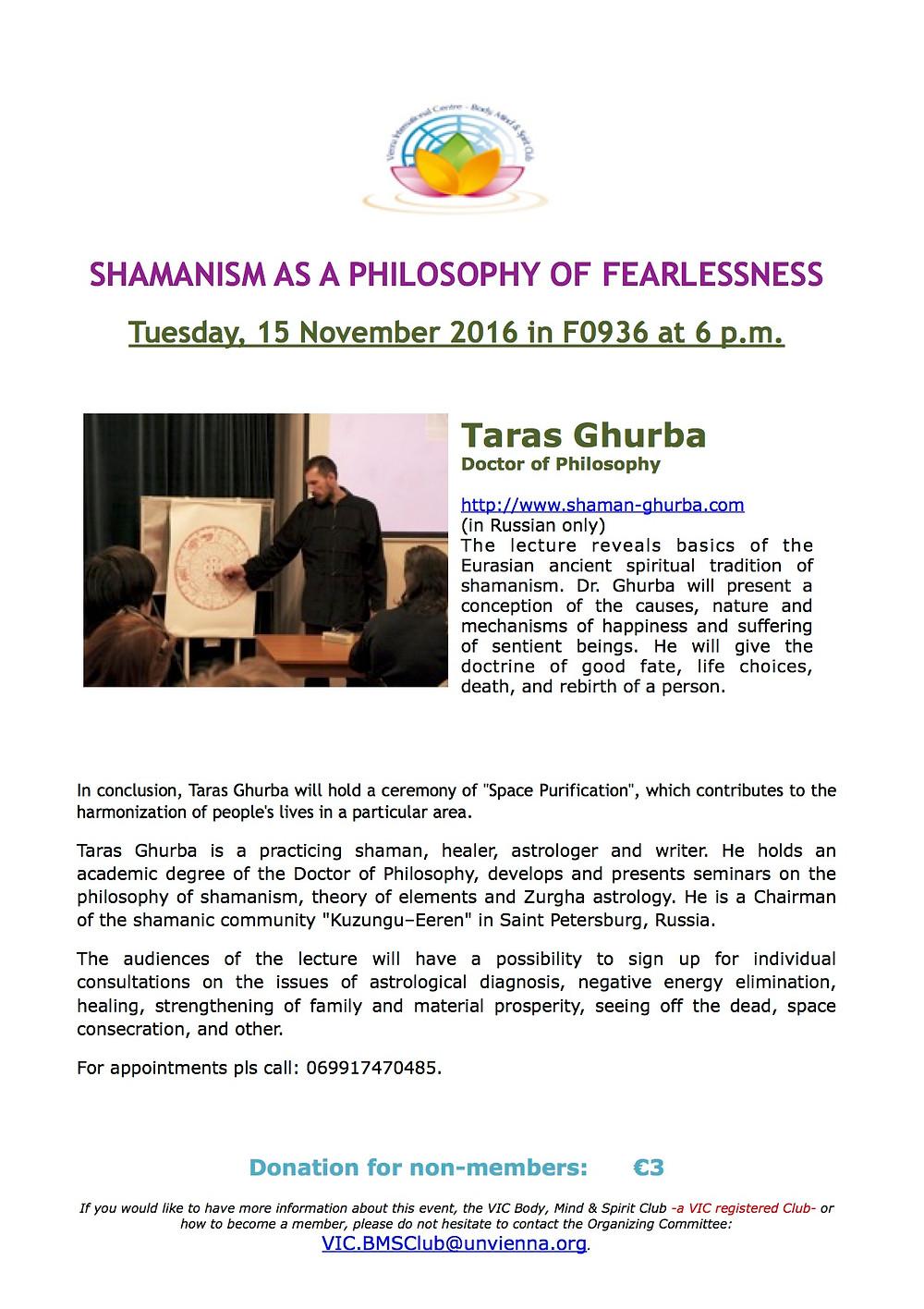 Taras Ghurba, shaman, Lecture Taras Ghurba, seminar about shamanism