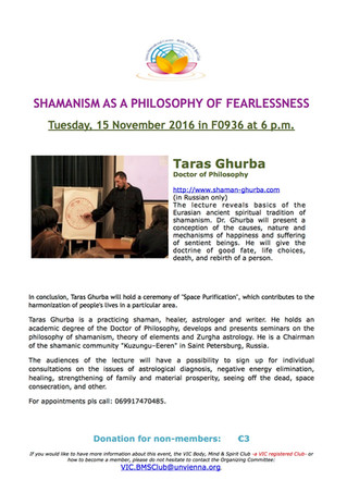 "Lecture by Taras Ghurba ""Shamanism - philosophy of fearlessness"" in Vienna"