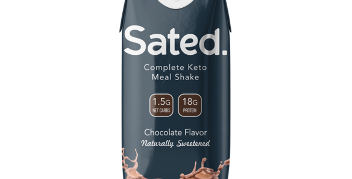 Sated Keto Meal Shake - Chocolate Flavor by Keto and Co - 11oz - 1.5 g Net Carbs