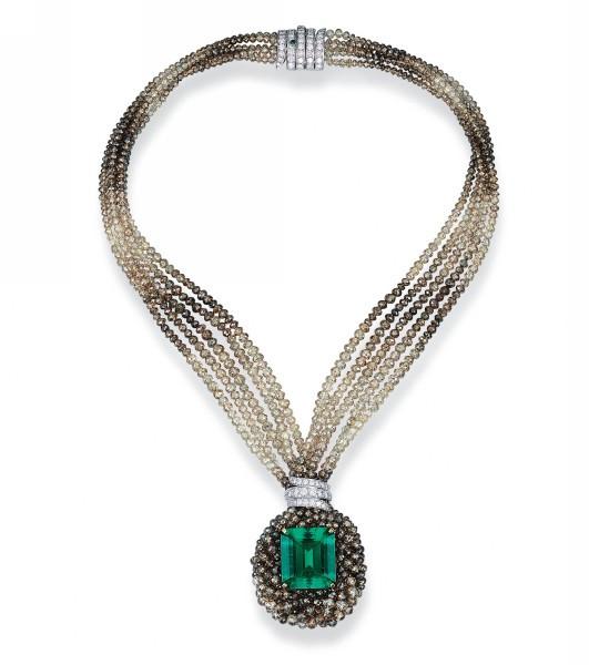 Emerald and Diamond Pendant Torsade Necklace