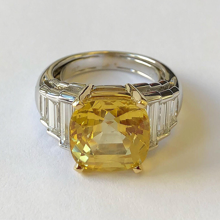 Unheated Yellow Sapphire and Diamond Ring
