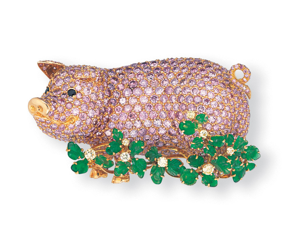 Fancy Pink Diamond and Emerald Pig Brooch