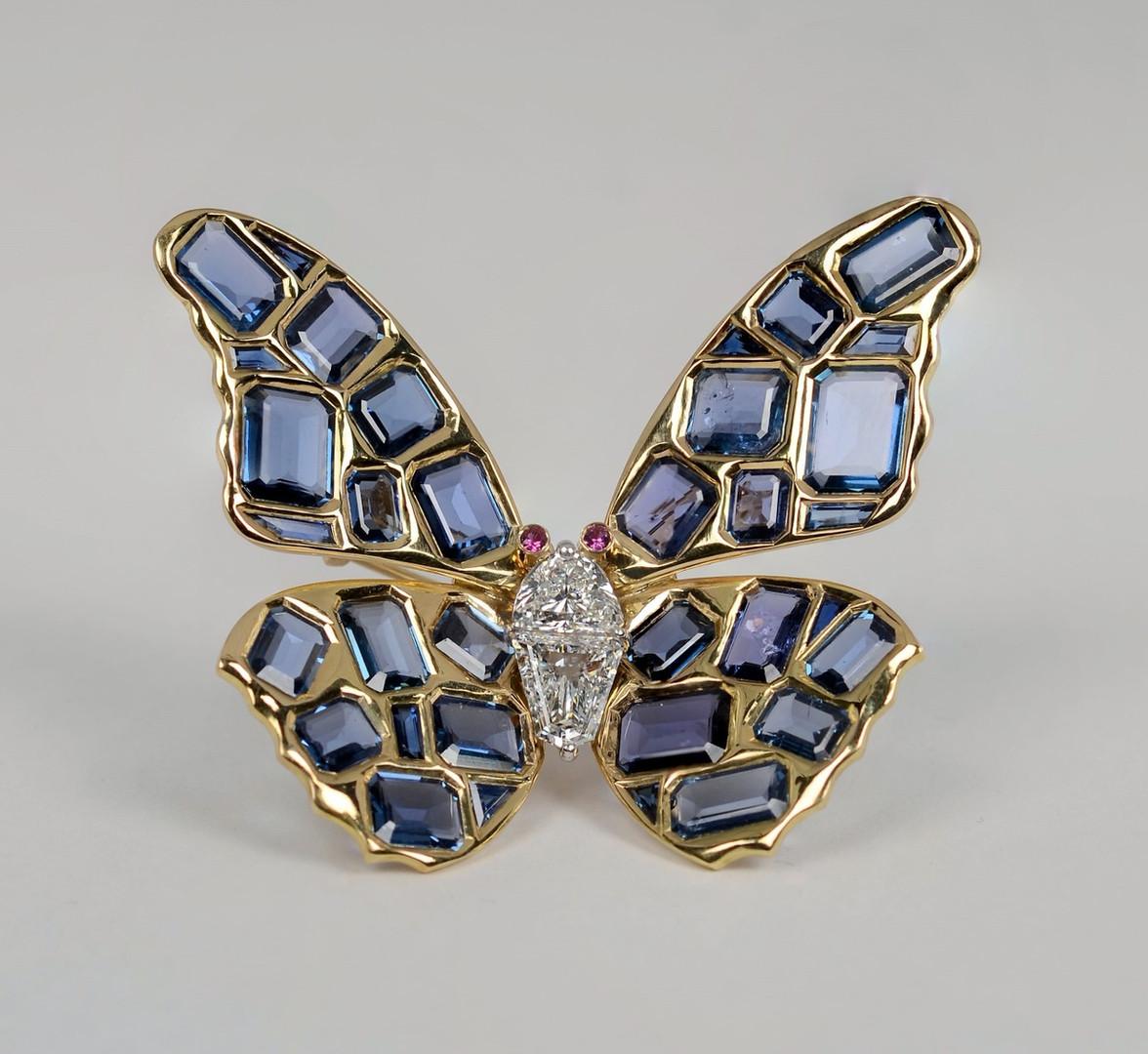 Rare Montana Sapphire Butterfly Brooch