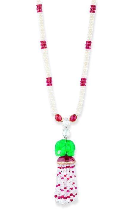 Carved Emerald Elephant, Ruby, Diamond Necklace